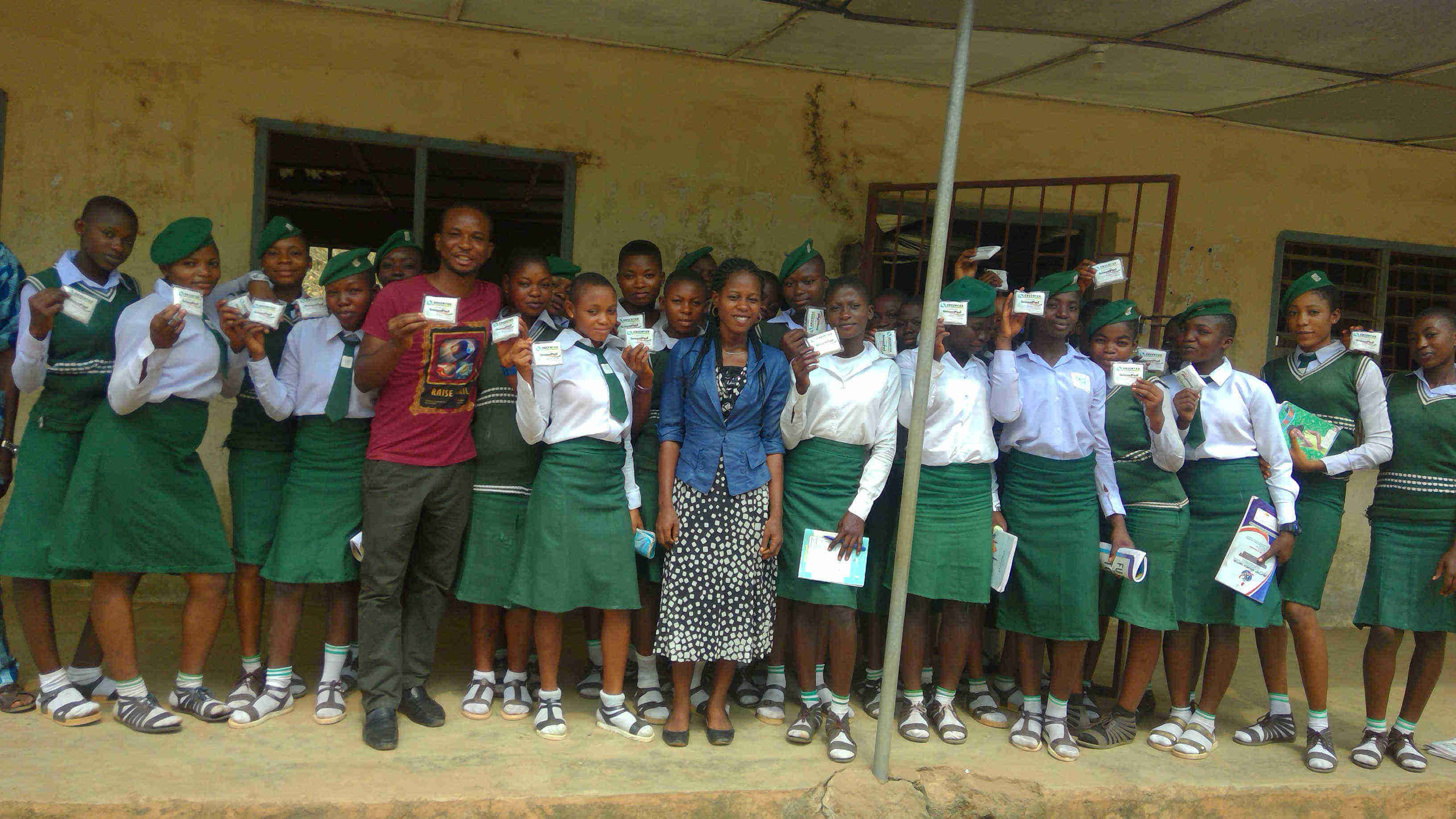 GreenPad sanitary pads given to girls for free at Idanre High School, Alade Idanre